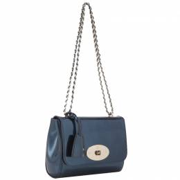 Mulberry Blue Leather Grained Lily Shoulder Bag 244718
