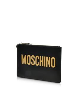 Черный Фирменный Кожаный Клатч Moschino 8405 8001 A2555 BLACK