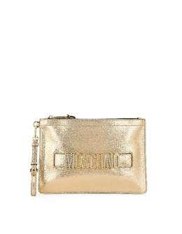 Золотистый Фирменный Клатч с Кристаллами Moschino 8433 8011 A1606 FANTASY PRINT SHINY GOLD