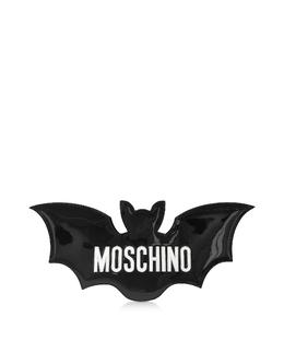 Черный Клатч Летучая Мышь из Лакированной Кожи с Логотипом Moschino 7478 8005 A1555 FANTASY PRINT BLACK