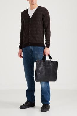 Черная кожаная сумка с декором Bottega Veneta 1669166950