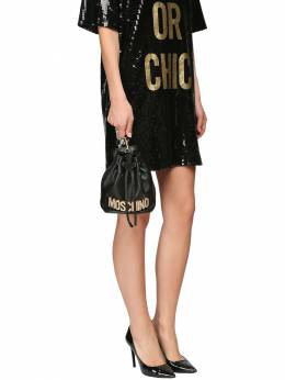 Crystal Logo Leather Clutch Moschino 71IL0M036-QTA1NTU1