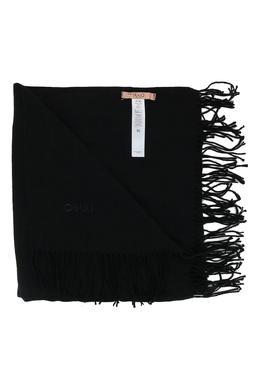 Черный шарф с логотипом и бахромой Liu Jo 1776167494
