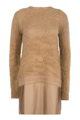 Комбинированное платье песочного цвета No. 21 35167441
