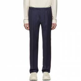 Gucci Blue Wool Fine Dots Trousers 192451M19100402GB