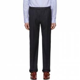Gucci Navy Wool Jacquard Symbols Trousers 192451M19100806GB