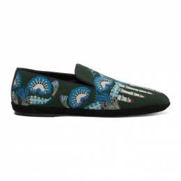 Loewe Green William De Morgan Canvas Toes Loafers 201677M23104203GB
