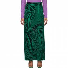Rokh Black and Green Wool Psychedelic Skirt 192151F09200603GB
