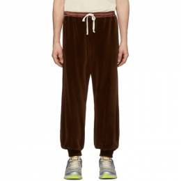 Gucci Brown Chenille Jogging Lounge Pants 192451M19002407GB