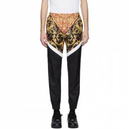 Versace Black and White Barocco Track Pants 201404M19000707GB