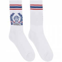 Versace White and Blue Medusa Laurel Socks 201404M22011601GB