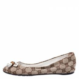 Gucci Beige Guccissima Canvas Bamboo Bow Tassel Ballet Flats Size 36 248338