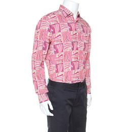 Salvatore Ferragamo Pink Sailboat Printed Cotton Derby Fit Shirt L