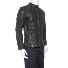 Giorgio Armani Dark Grey Embossed Lambskin Leather Jacket XL Emporio Armani