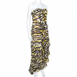 Missoni Multicolor Tiger Print Silk Ruffled Strapless Tansy Dress M 247806