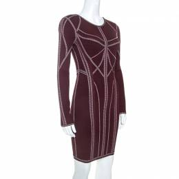 Herve Leger Burgundy Long Sleeve Metallic Trim Elaina Bodycon Dress XS 247698