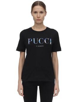 Logo Printed Cotton Jersey T-shirt Emilio Pucci 71IM5T065-OTk50