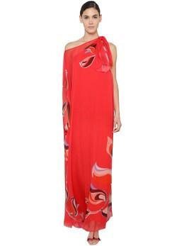One-shoulder Silk Chiffon Caftan Dress Emilio Pucci 71IM5T041-MDE10