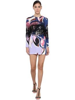 Printed Jersey Mini Dress W/ Fringe Emilio Pucci 71IM5T032-MDAx0