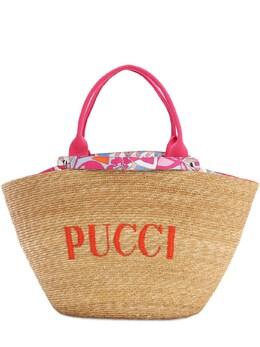 Riva Beach Logo Raffia Bucket Bag Emilio Pucci 71IM58005-QTA30