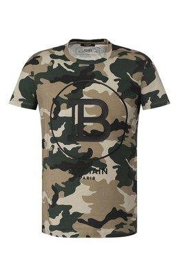 Хлопковая футболка Balmain TH11601/I266