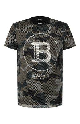 Хлопковая футболка Balmain TH11601/I264