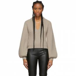 Alexander Wang Beige Wool Draped Neck Sweater 201187F10024504GB
