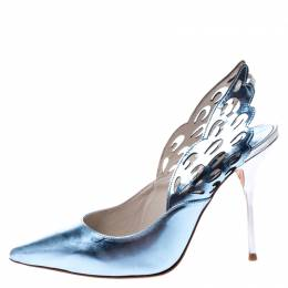 Sophia Webster Metallic Blue/Silver Leather Angelo Slingback Pointed Toe Sandals Size 39.5 249178