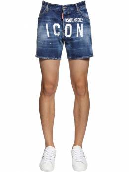 Print Icon Logo Stretch Dan Denim Shorts Dsquared2 71IS3C013-NDcw0