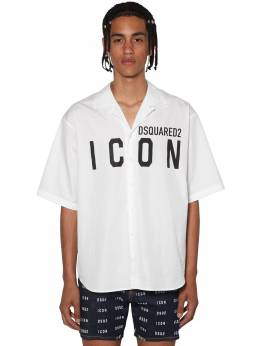 Print Icon Logo Poplin Bowling Shirt Dsquared2 71IS3C012-MTAw0