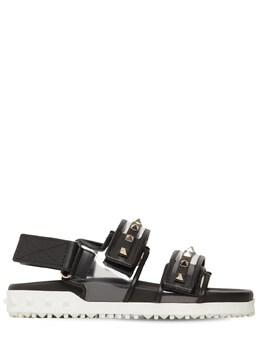 20mm Rockstud Rubber Leather Sandals Valentino 71IAG2008-MlAw0