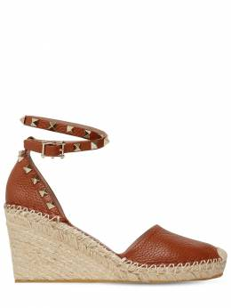 85mm Rockstud Double Leather Espadrilles Valentino 71IAG2002-Qlk10
