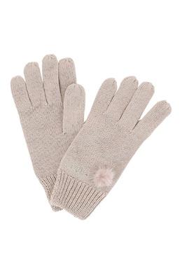 Бежевые перчатки с логотипом из стразов Liu Jo 1776168172