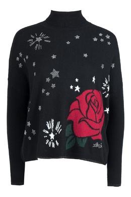 Черный свитер с розой Liu Jo 1776168475