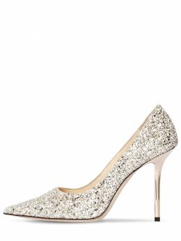 100mm Love Glittered Leather Pumps Jimmy Choo 71ID0Z007-TU9PTiBTQU5E0