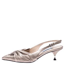 Prada Beige Metallic Pleated Leather Pointed Toe Slingback Sandals Size 38