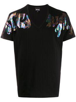 Just Cavalli V-neck iridescent logo T-shirt S01GC0600N20663