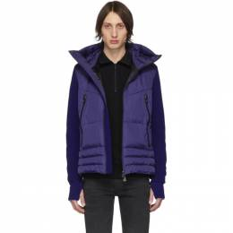 Moncler Grenoble Blue Down Maglia Cardigan Jacket 84007 - 00 - 80093