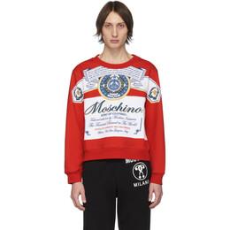 Moschino Red and White Budweiser Edition Logo Sweatshirt A1778 4127 1112