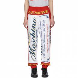 Moschino Red and White Budweiser Edition Logo Lounge Pants A0379 4127 1112