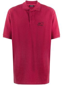 Raf Simons embroidered detail polo shirt 19214219015000517550