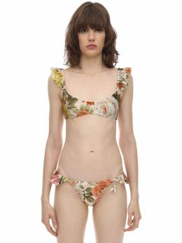 Bonitra Ruffled Lycra Bikini Zimmermann 71ICDR006-Q1JFQU0gRkxPUkFM0