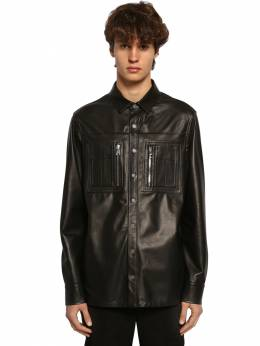 Leather Shirt Jacket W/ Jersey Panel Neil Barrett 71ILBI029-MDE1