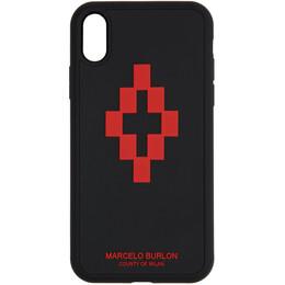 Marcelo Burlon County Of Milan Black 3D Cross iPhone XR Case CMPA013R20MAT0081025