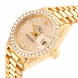 Rolex Champagne Diamonds 18K Yellow Gold Oyester Perpetual Datejust 69138 Women's Wristwatch 26 MM 250778
