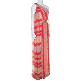 Missoni Coral Pink Floral Print Silk One Shoulder Maxi Dress S 250141