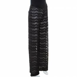 Missoni Black Chevron Pattern Knit Wide Leg Pants S 250142