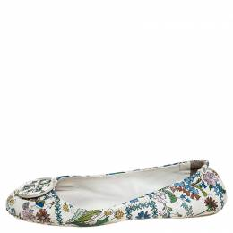 Tory Burch Multicolor Floral Print Leather Minnie Scrunch Ballet Flats Size 38.5