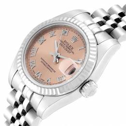 Rolex Salmon 18K White Gold Stainless Steel Datejust 179174 Women's Wristwatch 26 MM 250743