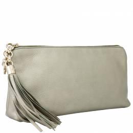 Gucci Gray Metallic Leather Tassel Clutch Bag 244918